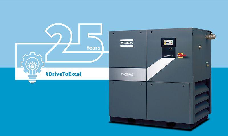 Аtlas Copco отбелязва 25 години от създаването на първата серия компресори с технологията VSD